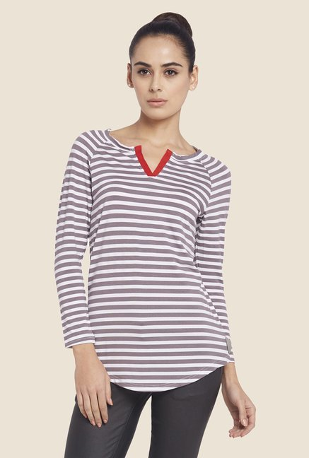 Globus Grey Striped V-neck Top