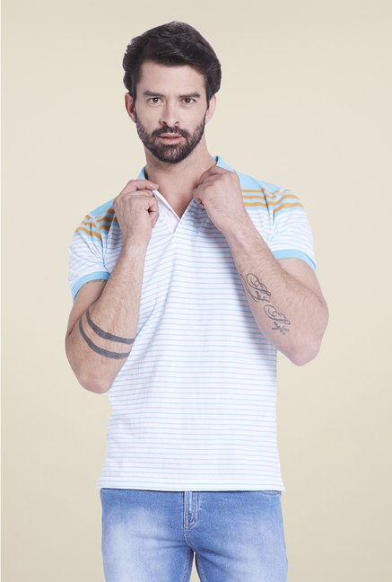 Globus White & Blue Striped Polo T Shirt