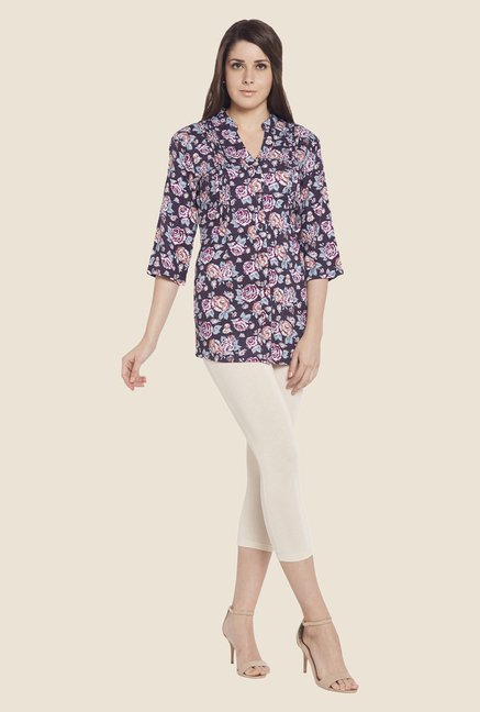 Globus Purple Floral Print Top
