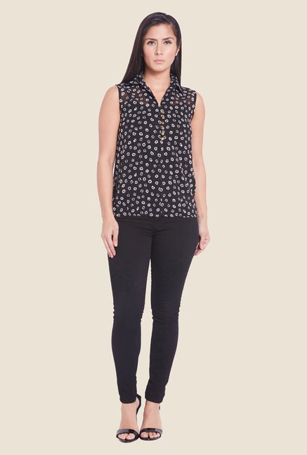 Globus Black Printed Sheer Top