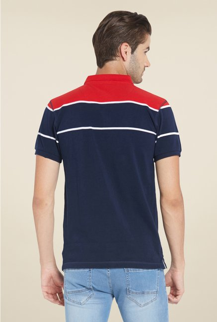 Globus Navy & Red Solid Polo T Shirt
