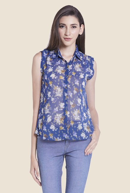 Globus Blue Floral Print Sheer Top