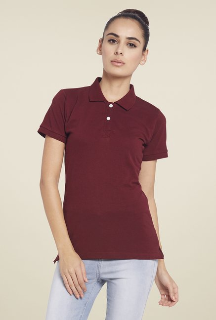 Globus Maroon Solid Polo T Shirt