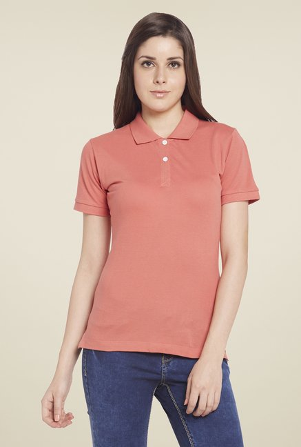 Globus Peach Solid Polo T Shirt