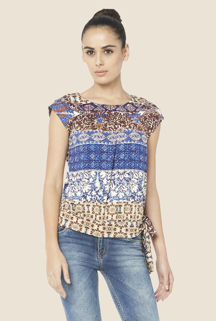 Globus Multicolor Printed Cap Sleeve Top
