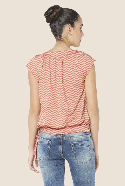 Globus Orange Chevron Print Cap Sleeve Top