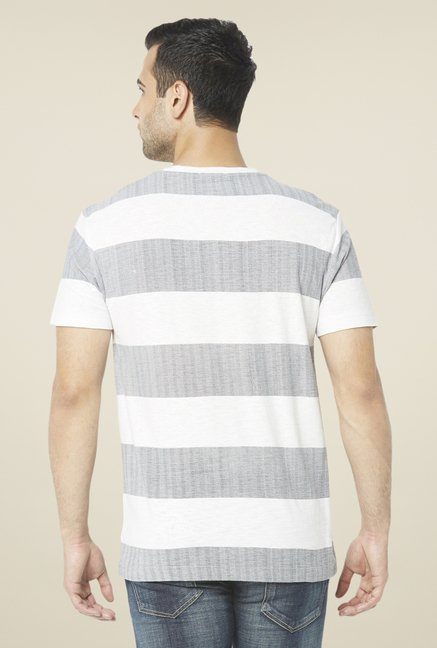 Globus White & Grey Striped T Shirt