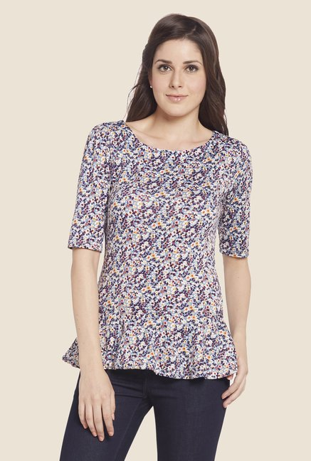 Globus Multicolor Floral Print Round Neck Top