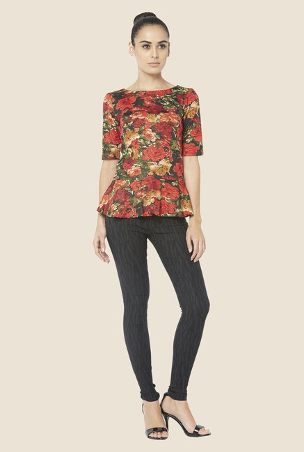 Globus Orange Floral Print Boat Neck Top