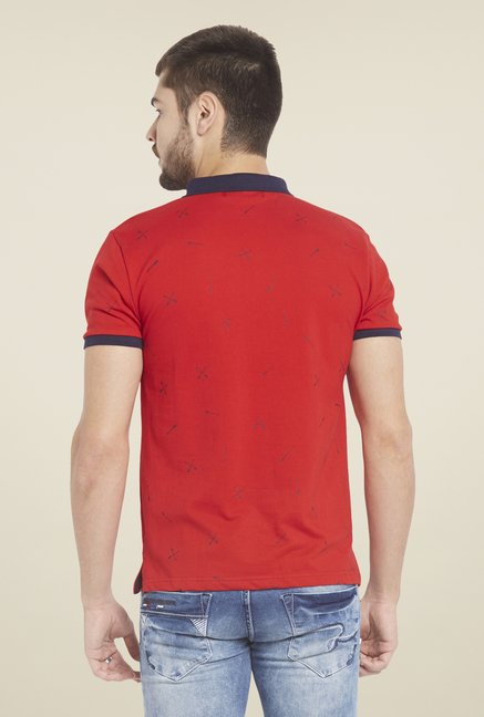 Globus Red Printed Polo T Shirt