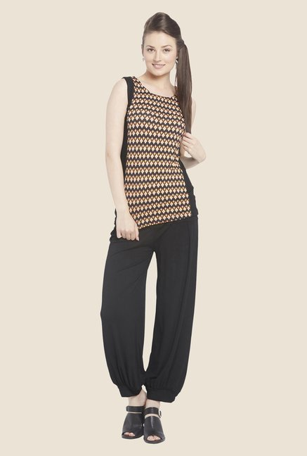 Globus Orange & Black Printed Sleeveless Top