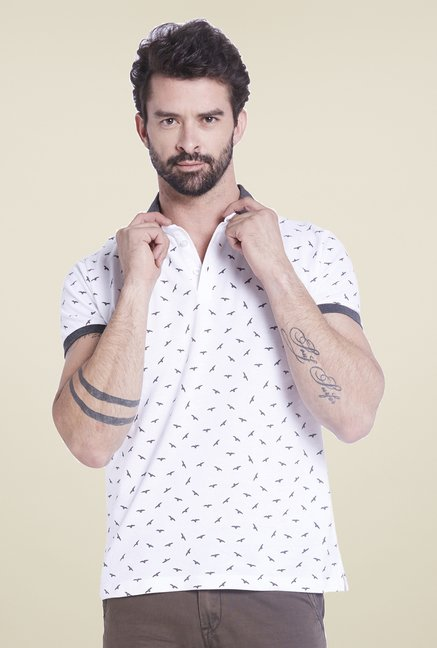 Globus White Printed Polo T Shirt
