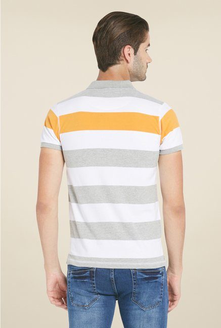 Globus Grey & White Striped Polo T Shirt