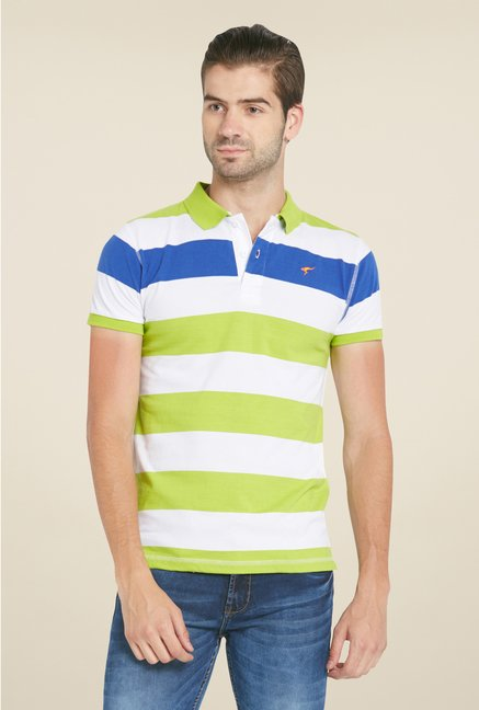 Globus Green & White Striped Polo T Shirt