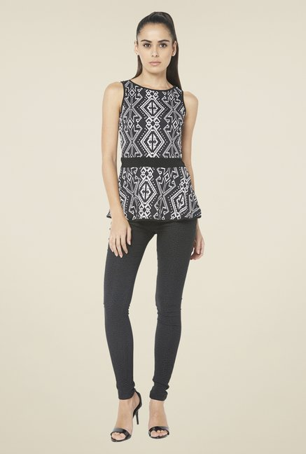 Globus Black Printed Regular Fit Top