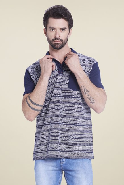 Globus Navy Printed Polo T Shirt