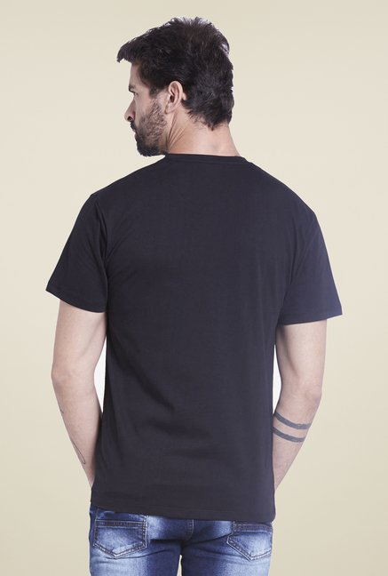 Globus Black Solid Henley T Shirt
