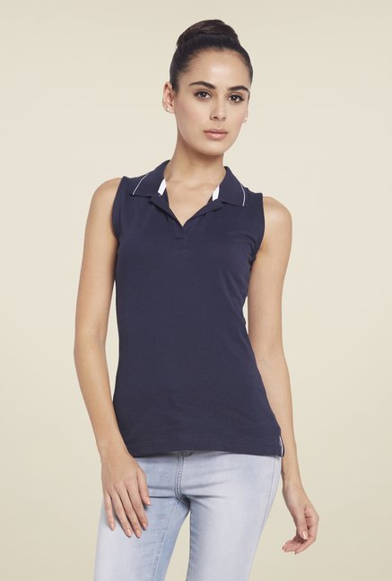 Globus Navy Solid Sleeveless Polo T Shirt
