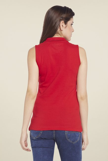 Globus Red Solid Sleeveless Polo T Shirt