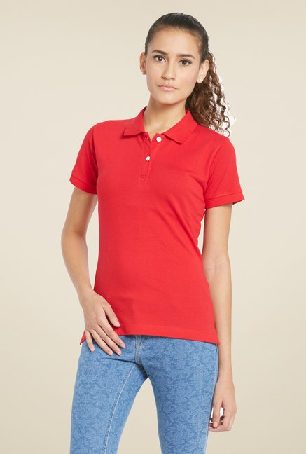 Globus Red Solid Polo T Shirt