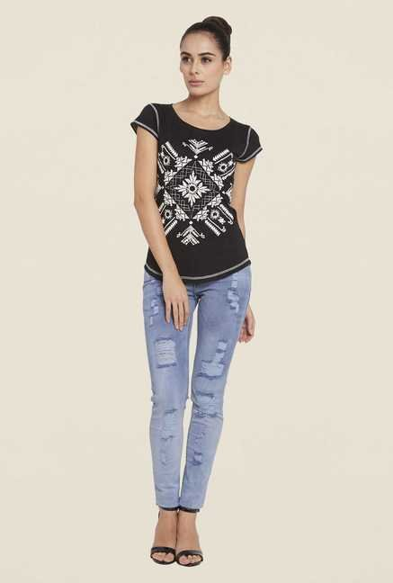 Globus Black Printed Cotton Top
