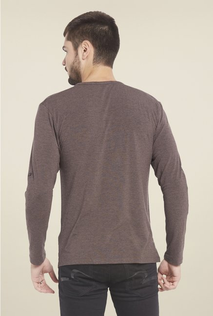 Globus Brown Solid Henley T Shirt
