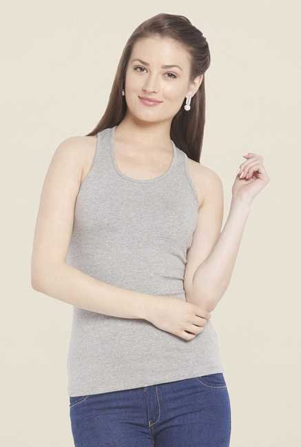 Globus Grey Solid Tank Top