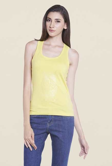 Globus Yellow Solid Tank Top