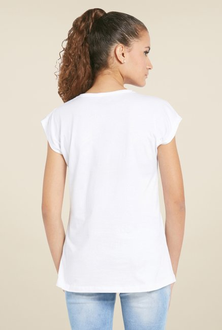 Globus White Printed Cotton T Shirt