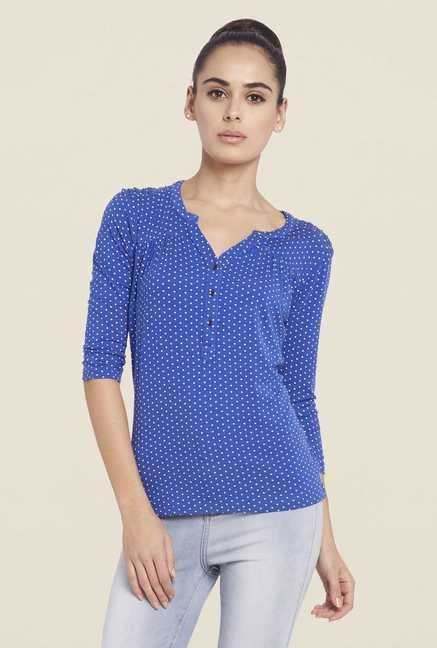 Globus Blue Printed Henley Neck Top