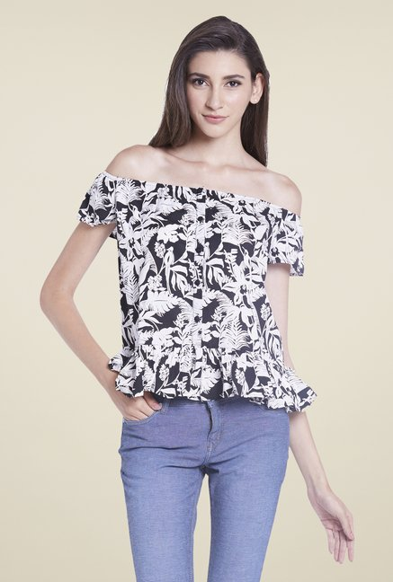 Globus Black Printed Off Shoulder Top