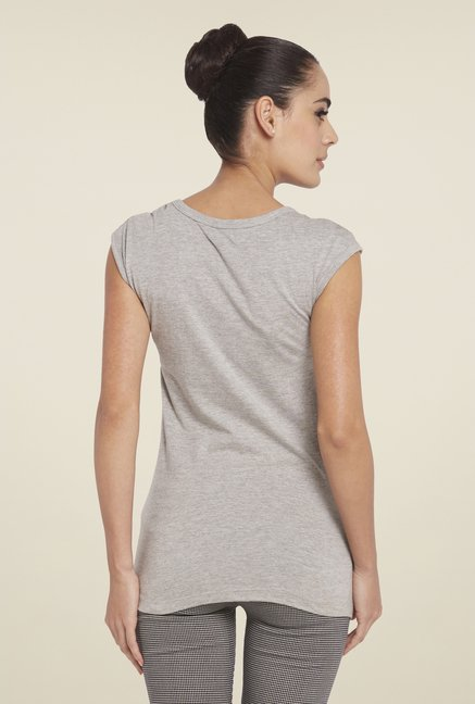Globus Grey Round Neck Printed Top