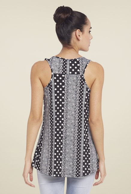 Globus Black Sleeveless Printed Top