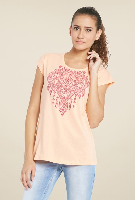 Globus Peach Printed Cotton T Shirt