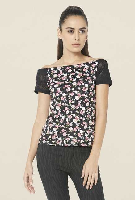 Globus Black Floral Printed Top
