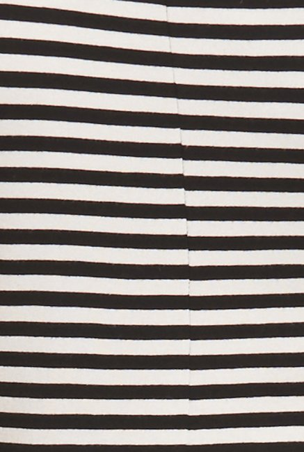 Globus Black U Neck Striped Top