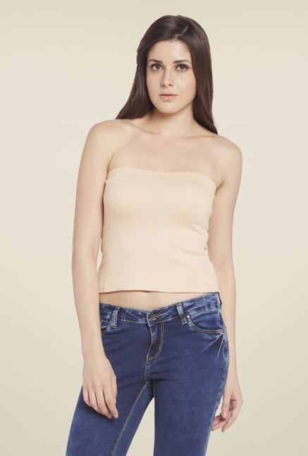 Globus Beige Solid Tube Top