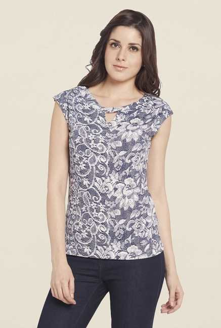 Globus Off White Floral Printed Round Neck Top