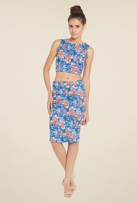 Globus Blue Floral Printed Sleeveless Crop Top