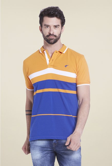 Globus Orange & Blue Striped Polo T Shirt