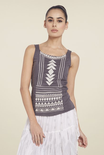 Globus Grey Printed Top