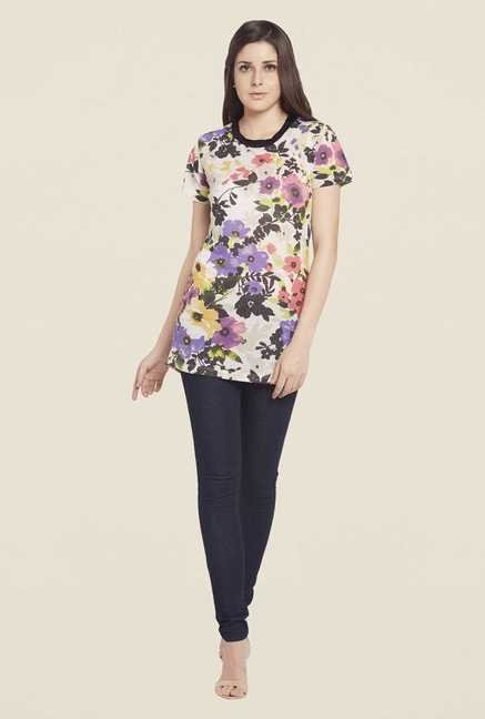 Globus Multicolored Floral Printed Short Sleeve Top