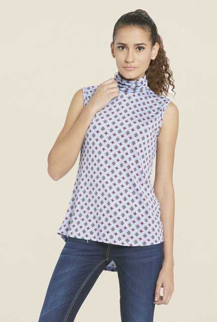 Globus Blue Printed Turtle Neck Top