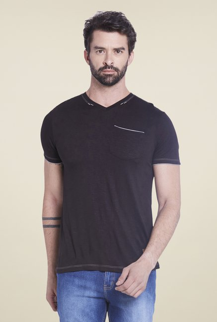 Globus Black Solid T Shirt