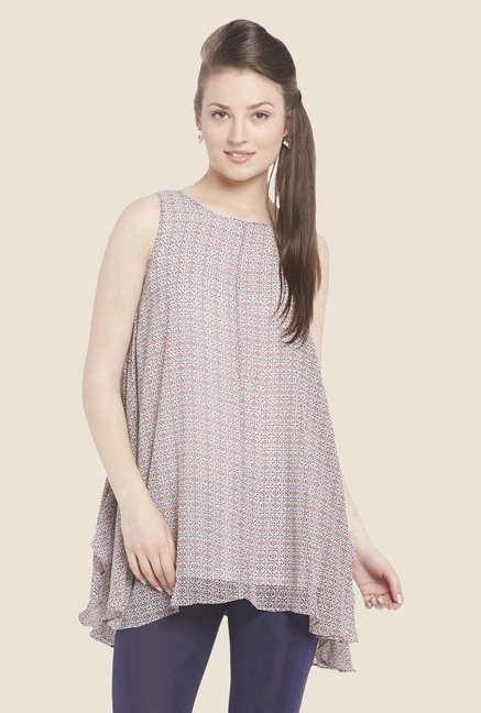 Globus Beige Printed Sheer Tunic