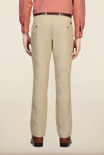 Allen Solly Beige Solid Formal Trouser