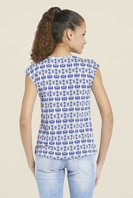 Globus Blue Printed Round Neck Top