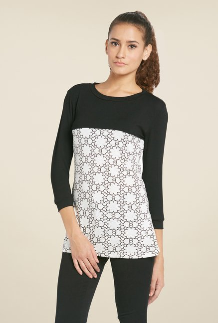Globus Black Floral Printed Round Neck Top