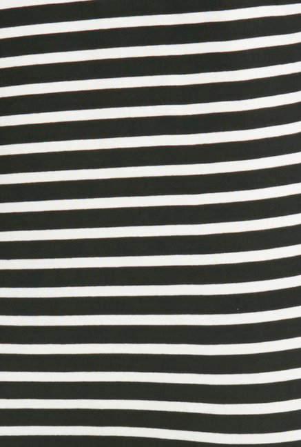 Globus Black Striped Round Neck Top