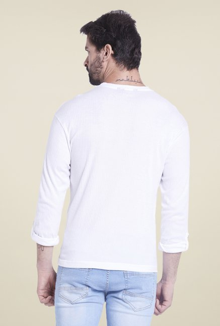 Globus White Solid Henley T Shirt